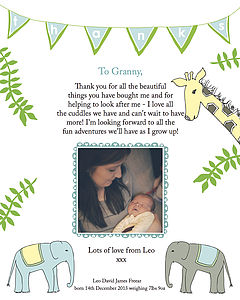 Personalised Baby Thank You Prints For Grandparents