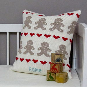 Personalised Knitted Gingerbread Cushion - decorative accessories
