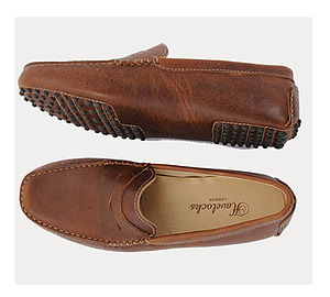 Vintage Style Cognac Penny Loafers
