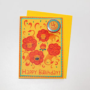 '4 Today' Lion Badge Card - birthday cards