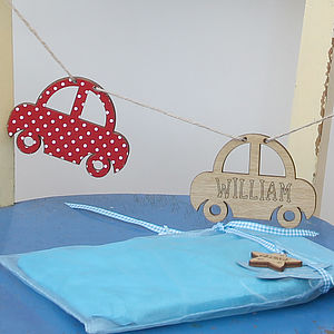 Personalised New Baby Keepsake Car Bunting - children's decorative accessories