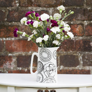 Bone China Jug With Circles Design, Large - table decorations