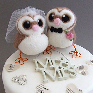Bride And Groom Owl Wedding Cake Topper - table decorations