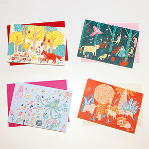 Set Of Four Animal Cards