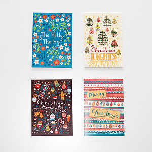 A Set Of Eight Patterned Christmas Cards - christmas cards: packs