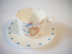 Bone China Teacup And Saucer Mexican Design