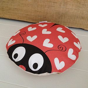 Love Bug Ladybird And Heart Cushion - children's room