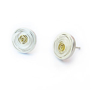 Silver Spiral Earstuds With 18ct Detail - earrings