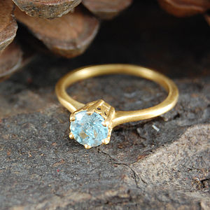 Gold Blue Topaz November Solitaire Birthstone Ring