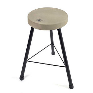 Concrete Stool With Fly Motif - furniture