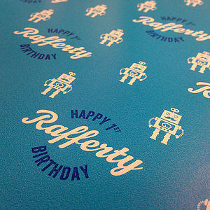 Personalised Birthday Wrap   Robot - wrapping paper