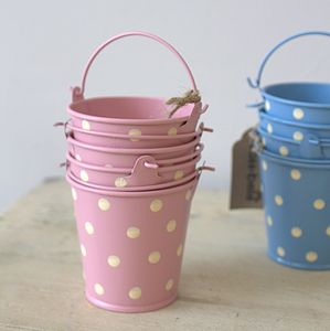 Set Of Three Mini Pink Buckets - easter egg hunt