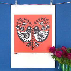 Folk Heart Birdie Print - pictures & prints for children