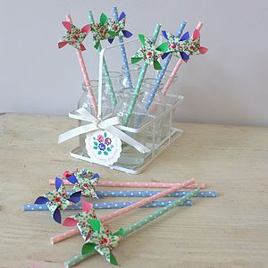 Rose Windmill Paper Straws - children's parties