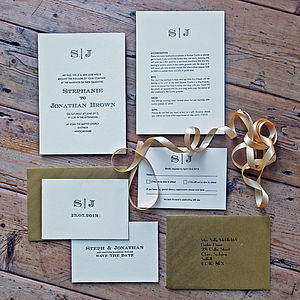 Gold Edge Monogram Letterpress Wedding Invite - invitations