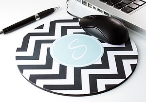 Personalised Chevron Mouse Mat Round