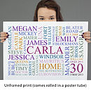 unframed print white background coloured text