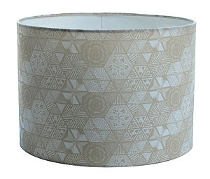 Hexie Doodle Taupe Lampshade - lamp bases & shades