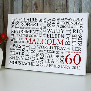 Personalised 60th Birthday Word Art Print - home accessories