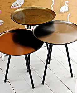 Set Of Three Danish Nesting Tables - on trend: copper