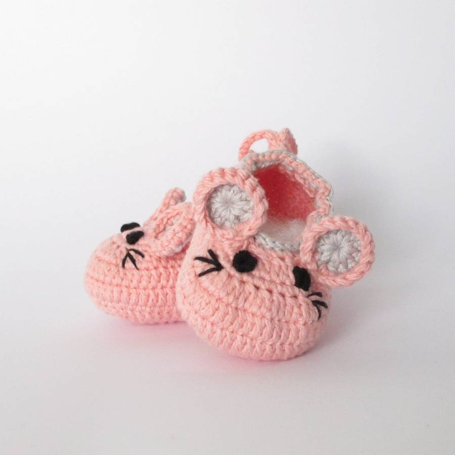 hand crochet baby mouse shoes by attic notonthehighstreet.com