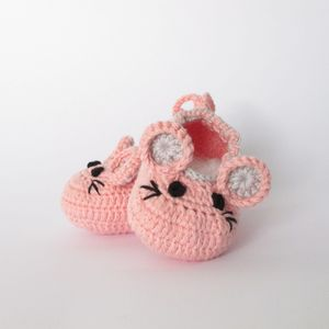 Hand Crochet Baby Mouse Shoes