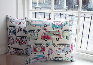 Personalised Campervan And Scooter Cushion - home