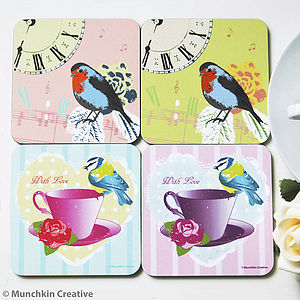 Blue Tit And Robin Vintage Coasters Set