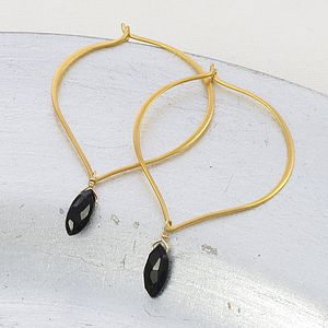 Gold Lotus Hoops With Gemstones - earrings