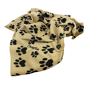 Personalised Paw Print Fleece Dog Blanket - dogs
