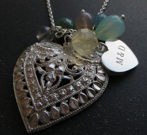 Silver Heart Charm Necklace - 60th birthday gifts
