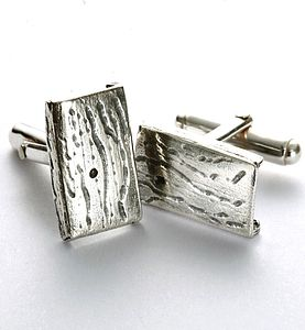 Sterling Silver Contemporary Barked Cufflinks