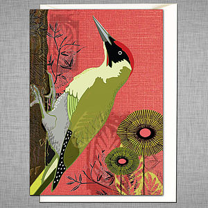 Green Woodpecker Greetings Card - home accessories