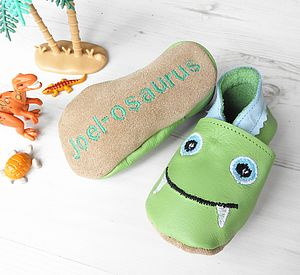 Personalised Dinosaur Baby Shoes - babies' slippers
