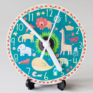 Animals Compact Disc Clock - children's room accessories