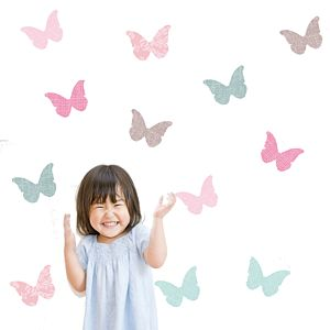 Bespoke Linen Butterflies - wall stickers