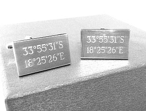 Personalised Rectangle Location Coordinate Cufflinks