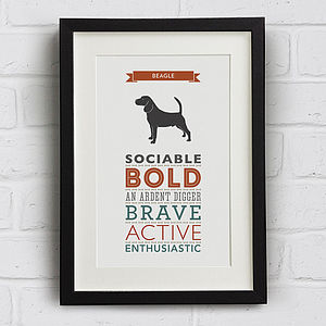 Beagle Dog Breed Traits Print - new lines added