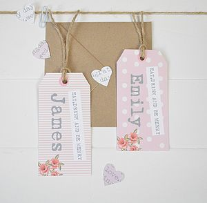 Personalised Rose Place Card Tags - diy stationery