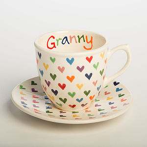 Personalised Love Heart Cup And Saucer