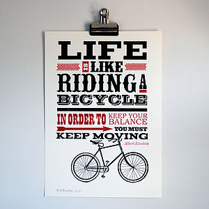 'Riding A Bicycle' Letterpress Print - view all gifts for him