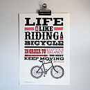 'Riding A Bicycle' Letterpress Print