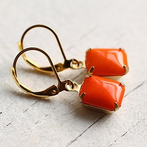 Neon Orange Earrings - earrings