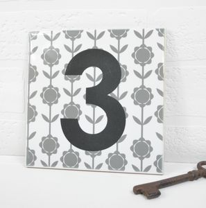 House Number Ceramic Tile Flower Stem - garden