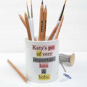 Personalised Ceramic Desk Tidy Pot