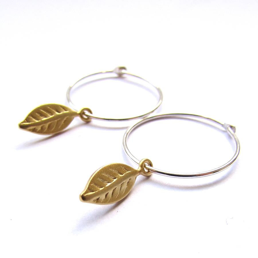 Gold Leaf Hoop Earrings
