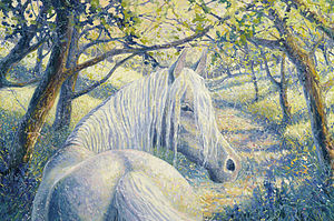 A White Horse In A Summer Bluebell Wood - prints & art