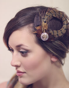 Pheasent Feather Fascinator - hair accessories