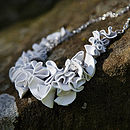 Silver And Leather Ruffle Necklace