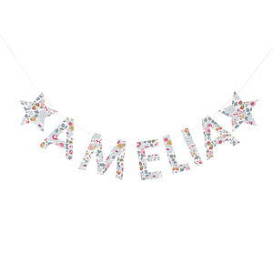 Betsy Liberty Fabric Name Garland - home